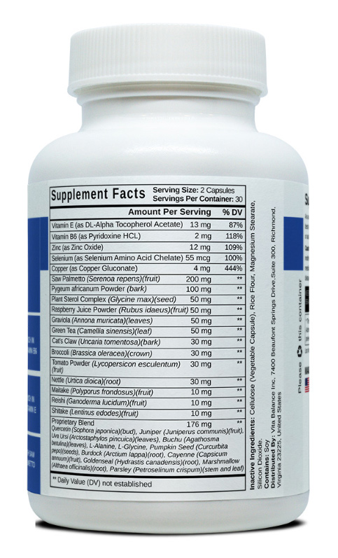 prostate plus supplement fact